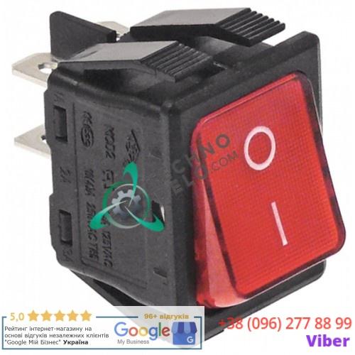 Кнопка универсальная вкл-выкл красная 250В 16А 30x22мм с подсветкой