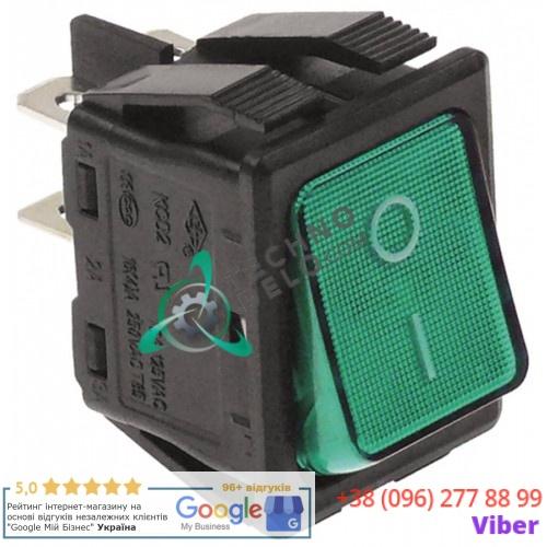 Кнопка универсальная вкл-выкл 250В 16А 30x22мм зеленая