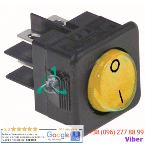 Выключатель балансирный желтый монтаж 25,5x25 мм (2NO / 250В / 16А)