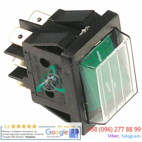 Выключатель зелёный 2CO 230В 16А 0-I 30x22мм IP65 058808 58808 печи Electrolux, Zanussi COCO10E и др.