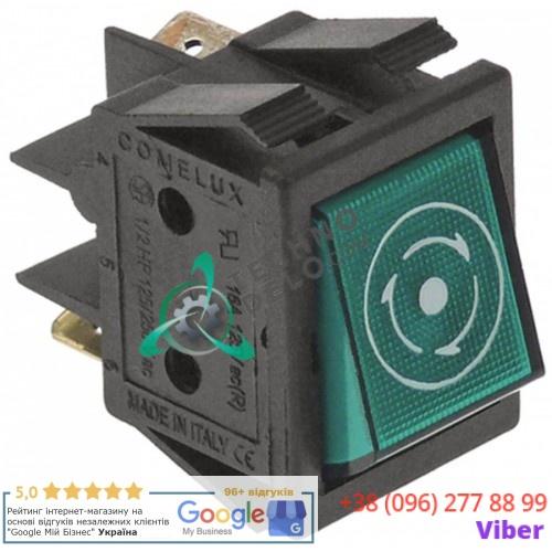 Выключатель зелёный 1NO/лампа 250В 30x22мм 130468 цикл для Comenda