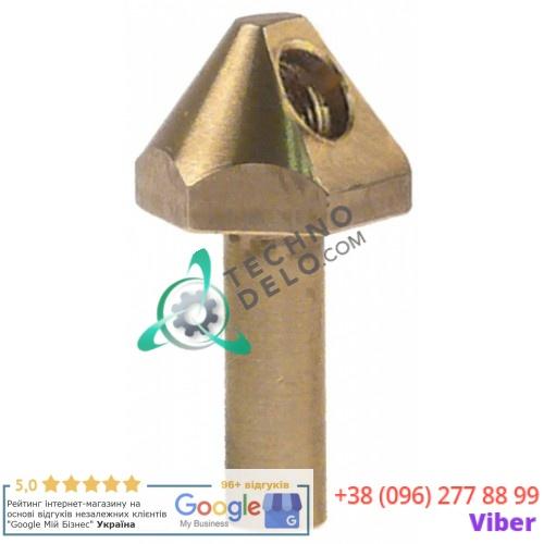 Верняя часть горелки конфорочной M7x0,75мм ø8.4мм общая длина 42мм ключ 20 латунь 0KI142 для Ascobloc, Electrolux и др.