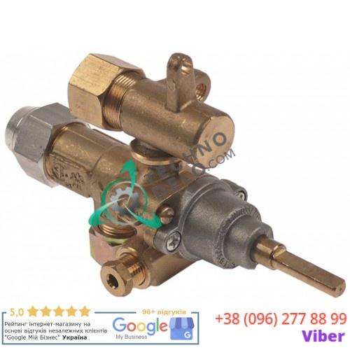 Кран газовый (аналог EGA) GPEL21R M15x1 трубка ø10мм дюза ø0,6мм M17x1 M8x1 M10x1 ось 6x4,6мм 201136 для плиты MKN