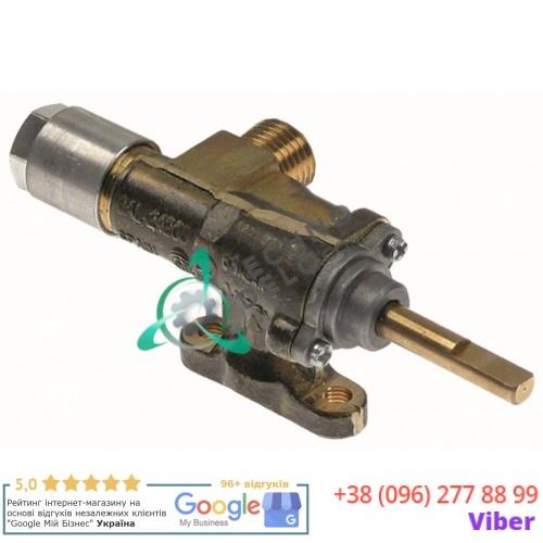 Кран газовый Copreci CAL-24200 ø14мм жиклёр 0,35мм выход 1/4 M8x1 ось 6x4,6 мм L-28/13мм для гриля Lincat CG4/CG6 и др.